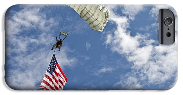 Recently Sold -  - Patriotism iPhone Cases - A U.s. Air Force Member Glides iPhone Case by Stocktrek Images