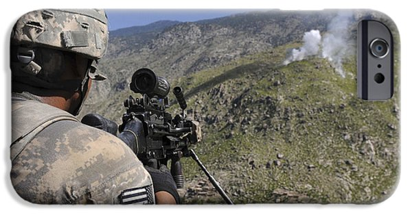 Terrorism iPhone Cases - A U.s. Army Grenadier Scans A Nearby iPhone Case by Stocktrek Images
