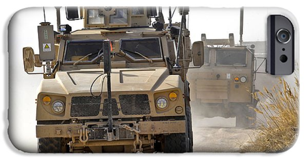 Afghanistan iPhone Cases - A U.s. Army M-atv Leads A Convoy iPhone Case by Stocktrek Images