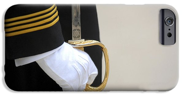 White Glove iPhone Cases - A U.s. Naval Academy Midshipman Stands iPhone Case by Stocktrek Images