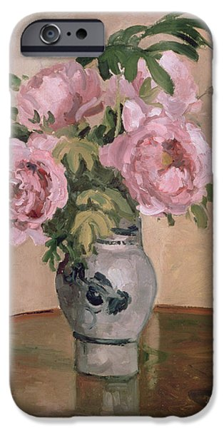 Pottery Paintings iPhone Cases - A Vase of Peonies iPhone Case by Camille Pissarro