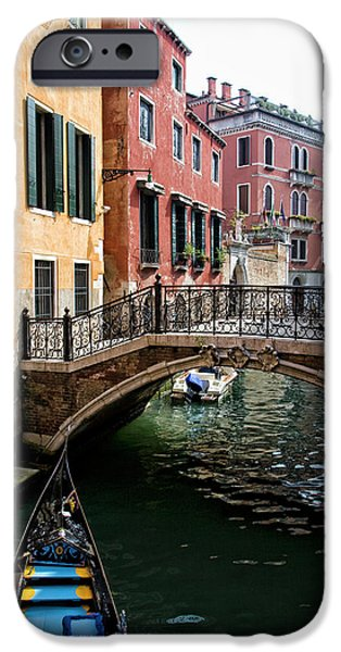 Red Canoe iPhone Cases - A Venetian Canal iPhone Case by Michelle Sheppard