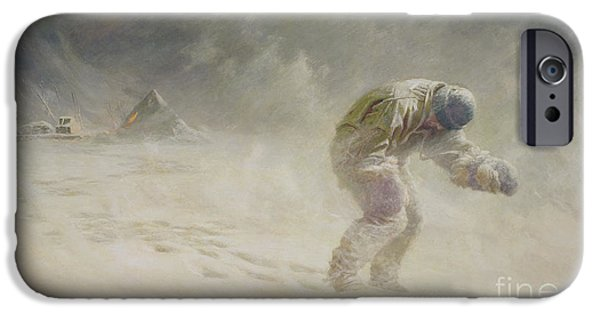Storm iPhone Cases - A very gallant gentleman iPhone Case by John Charles Dollman
