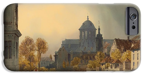 Fall Of River Paintings iPhone Cases - A View Of The Church Of Our Lady Of Hanswijk - Mechelen Belgium iPhone Case by Thomas Shorter