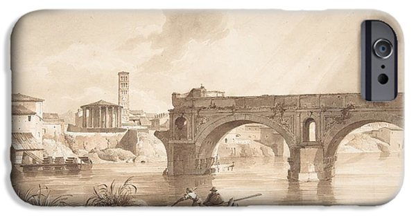 North Sea Drawings iPhone Cases - A View of the Tiber from the North Bank iPhone Case by Celestial Images