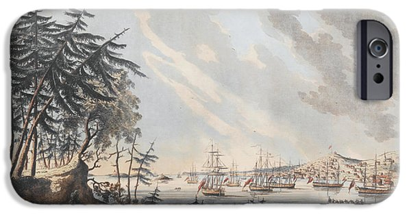 Marine iPhone Cases - A View of the Town and Harbour of Halifax from Dartmouth Shore iPhone Case by Joseph Frederick Wallet DesBarres
