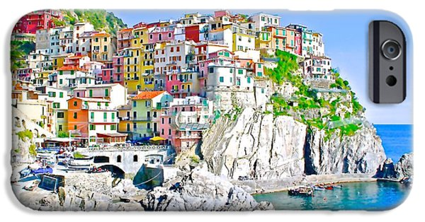 Village iPhone Cases - A Village By The Sea In Italy iPhone Case by Olivia Bonham