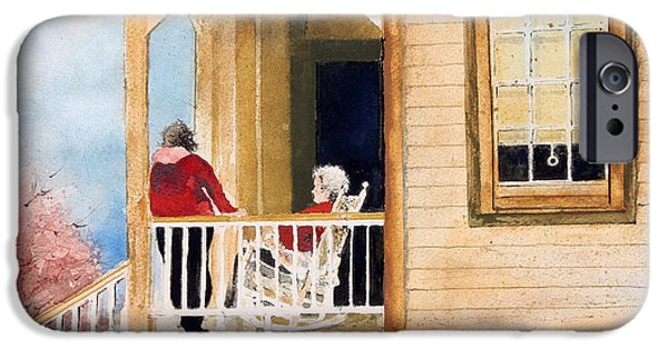 Sit-ins Paintings iPhone Cases - A Visit With Grandma iPhone Case by Monte Toon