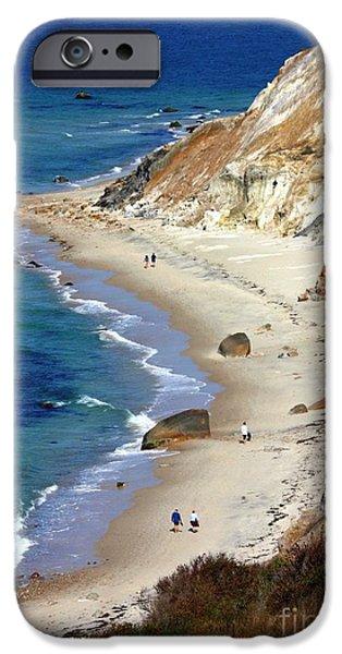 Red Cliffs iPhone Cases - A Walk Along Aquinnah Beach iPhone Case by Carol Groenen