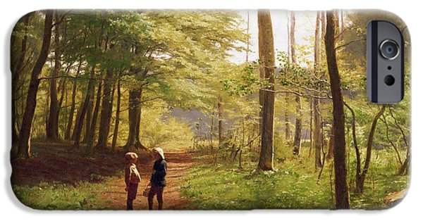 Friends Meeting iPhone Cases - A Walk in the Forest iPhone Case by Niels Christian Hansen