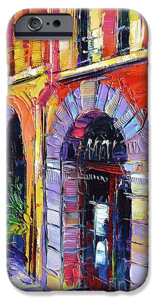 Facade iPhone Cases - A Walk In The Lyon Old Town iPhone Case by Mona Edulesco
