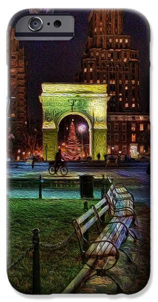 Decorative Benches iPhone Cases - A Walk in Washington Square iPhone Case by Lee Dos Santos