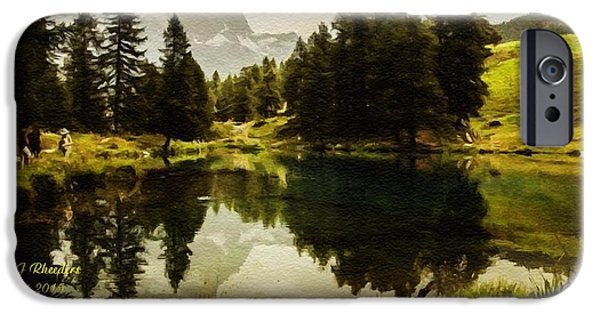 Business Pastels iPhone Cases - A Walk Next To A Lake H A iPhone Case by Gert J Rheeders