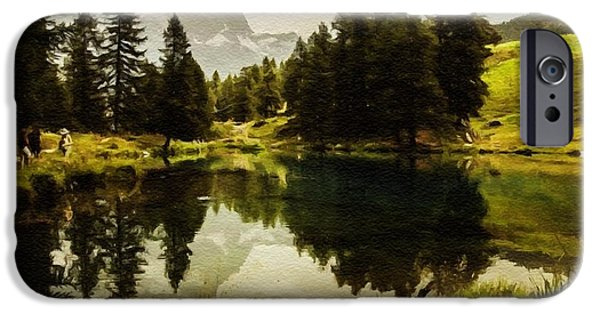 Abstract Expressionist iPhone Cases - A Walk Next To A Lake H B iPhone Case by Gert J Rheeders