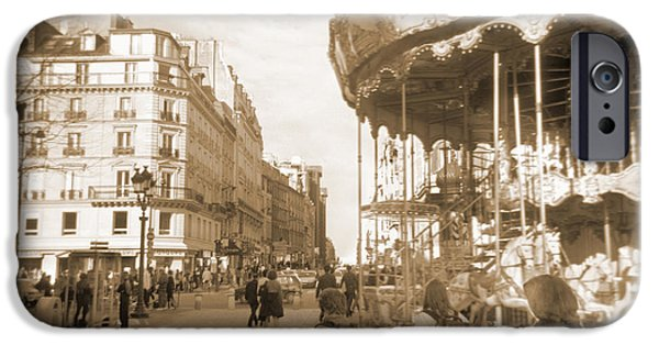Carousel iPhone Cases - A Walk Through Paris 4 iPhone Case by Mike McGlothlen