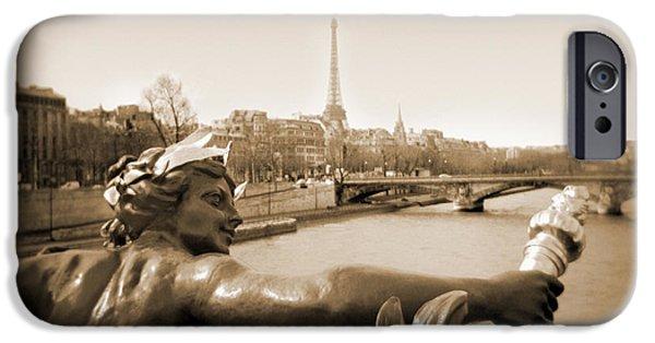 Paris Digital Art iPhone Cases - A Walk Through Paris 7 iPhone Case by Mike McGlothlen