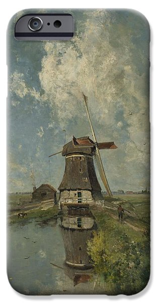 July iPhone Cases - A Windmill on a Polder Waterway iPhone Case by Celestial Images