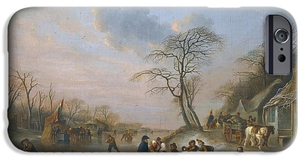Landscape With Figure iPhone Cases - A Winter Landscape iPhone Case by Andries Vermeulen