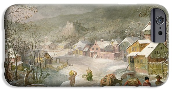 Pathway iPhone Cases - A Winter Landscape with Travellers on a Path iPhone Case by Denys van Alsloot