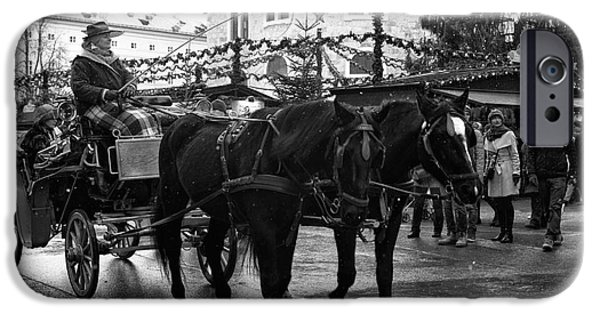 Horse And Buggy iPhone Cases - A Winters Ride iPhone Case by John Rizzuto