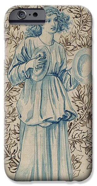 Robe Drawings iPhone Cases - A Woman playing Cymbals iPhone Case by William Morris