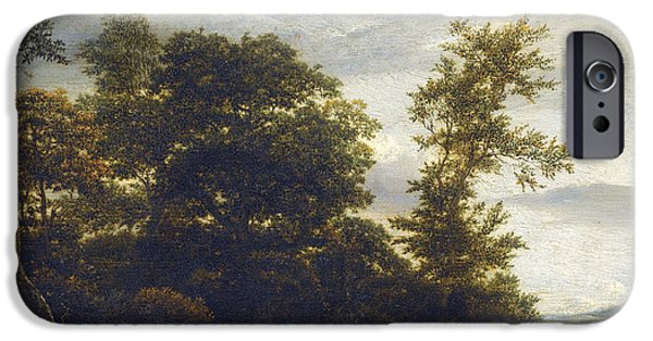 Field. Cloud Drawings iPhone Cases - A Wooded Dune Landscape iPhone Case by Iacob van Ruisdael