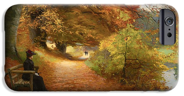 Fallen Leaf On Water iPhone Cases - A Wooded Path In Autumn iPhone Case by H A Brendekilde