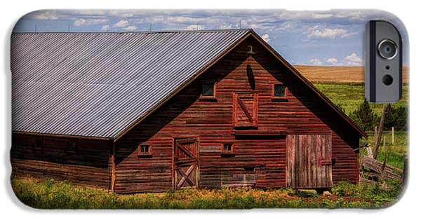 Field. Cloud iPhone Cases - A Wyoming Red Barn iPhone Case by Priscilla Burgers