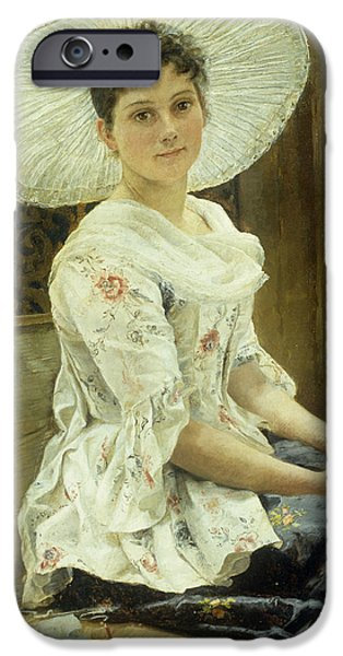 Woman In A Dress iPhone Cases - A Young Beauty in a White Hat  iPhone Case by Franz Xaver Simm