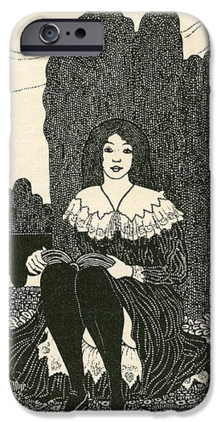 Innocence Drawings iPhone Cases - A Young Girl Sat Alone Reading. From iPhone Case by Ken Welsh