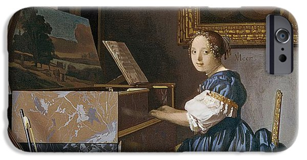 Piano iPhone Cases - A Young Lady Seated at a Virginal iPhone Case by Jan Vermeer