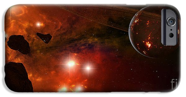 Destiny iPhone Cases - A Young Ringed Planet With Glowing Lava iPhone Case by Frieso Hoevelkamp