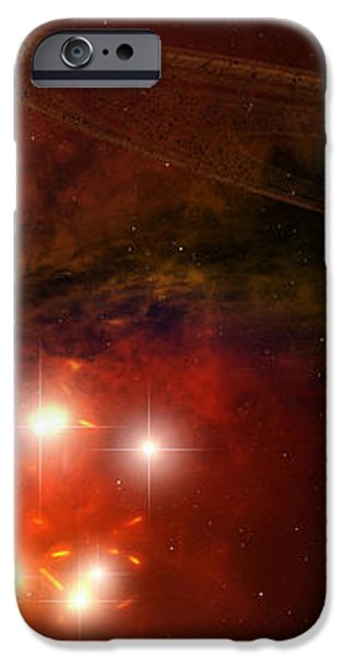A Young Ringed Planet With Glowing Lava iPhone Case by Frieso Hoevelkamp