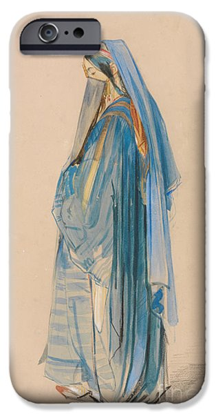 Young Paintings iPhone Cases - A Young Turkish Woman iPhone Case by John Frederick Lewis