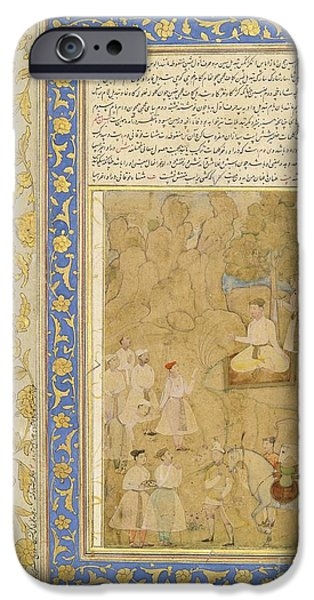 Youthful iPhone Cases - A Youthful Mughal Prince Receiving A Messag iPhone Case by Celestial Images