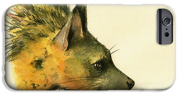 Safari Prints iPhone Cases - Aardwolf hyena animal art iPhone Case by Juan  Bosco