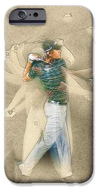 Michelle iPhone Cases - Aaron Baddeley of Australia Swing plan iPhone Case by Don Kuing