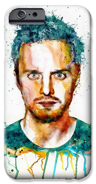 Drama iPhone Cases - Aaron Paul as Jesse Pinkman watercolor iPhone Case by Marian Voicu