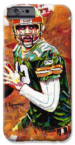 Quarterback iPhone Cases - Aaron Rodgers iPhone Case by Maria Arango