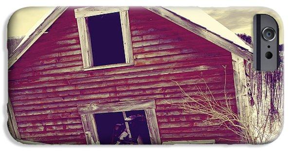 Red Barn In Winter iPhone Cases - Abandoned Barn iPhone Case by Mindy Sommers