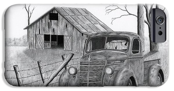 Old Barns Drawings iPhone Cases - Abandoned truck outside the fence iPhone Case by Claude Prud