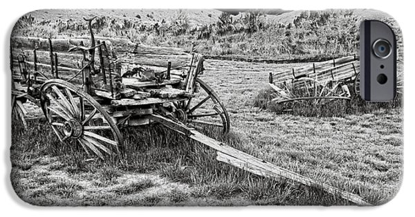 Horse And Buggy iPhone Cases - ABANDONED WAGONS of BANNACK MONTANA GHOST TOWN iPhone Case by Daniel Hagerman