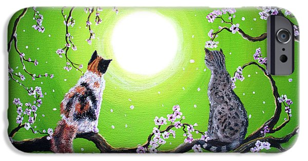Cherry Blossoms iPhone Cases - Abby and Caesar in the Spring iPhone Case by Laura Iverson