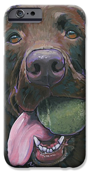 Chocolate Lab Paintings iPhone Cases - Abby iPhone Case by Nadi Spencer