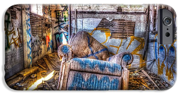 Abandoned School House. iPhone Cases - Abducted Recliner iPhone Case by Spencer McDonald