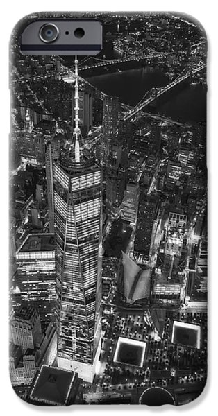 911 iPhone Cases - Above The Freedom Tower WTC BW iPhone Case by Susan Candelario