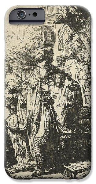 Rembrandt Drawings iPhone Cases - Abraham divorces Hagar and Ishmael iPhone Case by Rembrandt Harmensz van Rijn