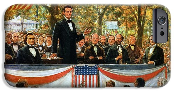 Best Sellers -  - Lincoln iPhone Cases - Abraham Lincoln and Stephen A Douglas debating at Charleston iPhone Case by Robert Marshall Root