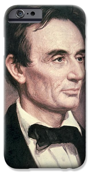 Orator Paintings iPhone Cases - Abraham Lincoln iPhone Case by George Peter Alexander Healy