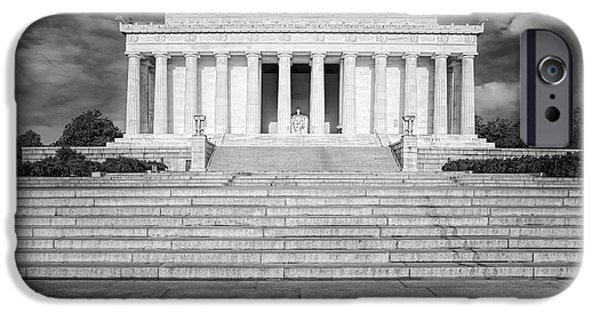 United iPhone Cases - Abraham Lincoln Memorial BW iPhone Case by Susan Candelario